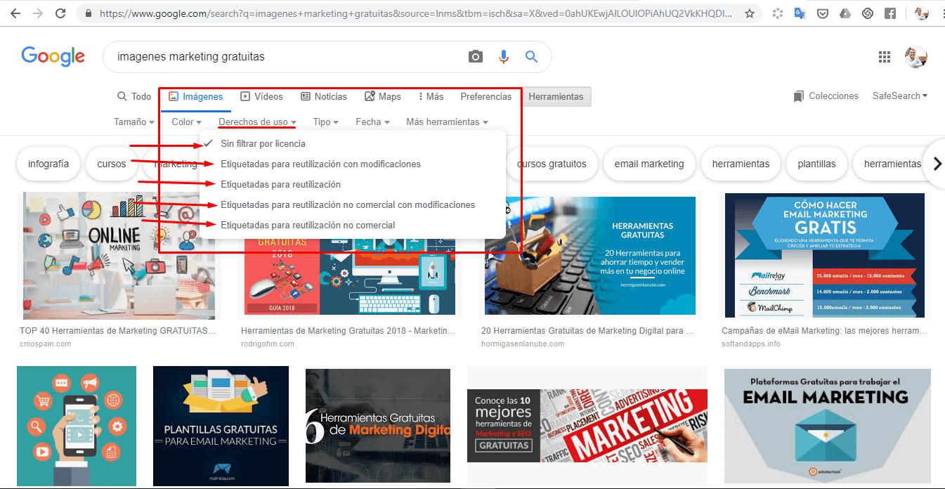 Puedes usar imágenes sin licencia de google usando en el buscador herramientas y te vas a derechos de uso allí marcas la opción sin licencia y tienes también las otras preferencias, recuerda que son para uso no comercial